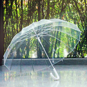 Summer Umbrella Anti-UV Protect Semi Automatic Transparent Long-Handle Compact
