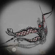 Vampire Diaries Inspired Laser Cut Metal Masquerade Mask [Red Rhinestones]