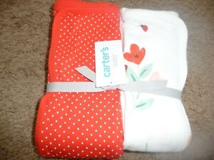 NEW Carters girls beautiful floral polka dot Swaddle Blanket 2 Pack Set NEW NWT