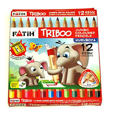 12 Triangular Jumbo Colouring Pencils & Sharpener. Excellent Quality. Easy Grip.