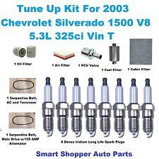 Tune Up Kit For 2003 Silverado 1500 Iridium Long Life Spark Plug Belt PCV Filter