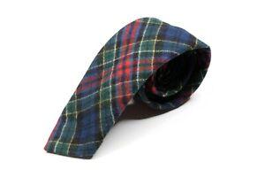 Vintage Pendleton Blue Tartan Plaid 100% Virgin Wool Mens Skinny Neck Tie