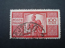 Fine Used Stamp 100 Lire Red 1949, Work Justice and Family