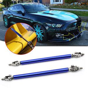 Universal Blue Adjustable Front Bumper Lip Spoiler Rod Strut Tie Bar Support