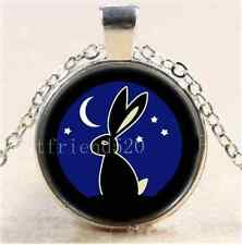 Rabbit With Moon Photo Cabochon Glass Tibet Silver Chain Pendant Necklace