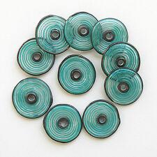 RachelArt - Teal Glass Disc Beads Lampwork Handmade Artisan Spiral