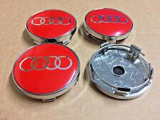 Centro DE RUEDA DE AUDI Rojo Aleación Tapas Conjunto de 4 Calcomanía insignias 60mm por 58mm universal Reino Unido