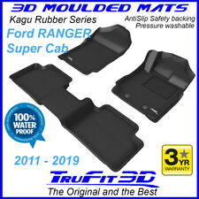 Fit Ford Ranger PX PX2 PX3 Super Cab 2011-20 Genuine 3D Black Rubber Floor Mats
