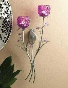 Fuchsia Blooms Purple And Silver Tealight Candle Holder Wall Sconce Wall Art