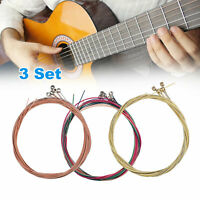 3 x Set Rainbow Multi-Color Acoustic Guitar Strings Replacement Stainless Steel