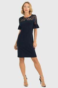 Joseph Ribkoff Midnight Blue Floral Lace Ruffle Sleeve Sheath Dress 193509 NEW