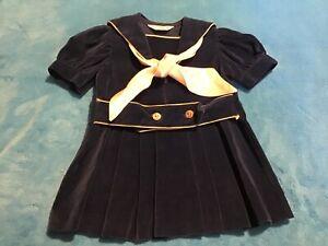 VINTAGE GOOD LAD GIRLS SAILOR DRESS Blue Velvet Toddler SIZE 2T