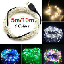 5/10M USB 100LED Silver Waterproof Wire String Fairy Light Strip Lamp Xmas Party
