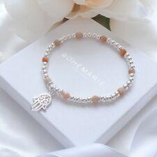 Sterling Silver Sunstone Hand Of Hamsa Bead Bracelet Crystal Stacking Jewellery