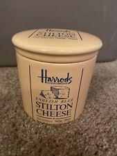 Harrods Knightsbridge English Blue Stilton Cheese Lid Ceramic Jar Crock London