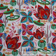 BonEful FABRIC FQ Cotton Quilt White Red Rain*bow Mexican Hat Flower Cactus Girl