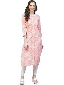 Indian Women Pink & White Printed Straight Kurta Kurti Top Tunic Ethinc Dress
