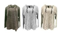 New York Women's Slub Hoodie Top Sweater S M L XL Heather Charcoal White