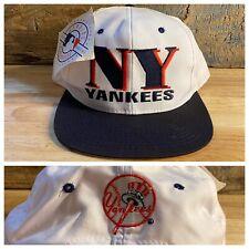 Vintage NWT Logo 7 New York Yankees Snapback Deadstock Block Head Two Tone Hat