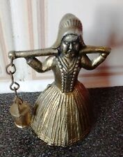 Signed-REG NO Metal Bell with Ancient Woman Carrying Pot.H-6.7cm/D-3.8cm.Rare