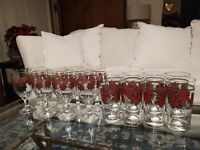 Libbey Poinsettia Christmas Tall Tumblers Glasses & Water Goblets 8 of each