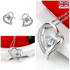 UK Boxed Sparking Love Sterling Silver Jewellery Set