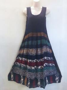 Sacred Threads Hippie Boho Festival Tie Dye Batik Block Print Dress 219305