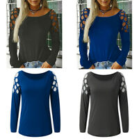 Women Tops Studded Tee Hollow Loose Blouse Long Shirt Out T Casual Sleeve Ladies