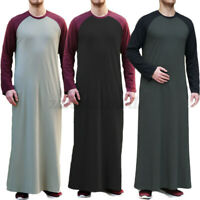Men's Saudi Arab Muslim Clothing Long Sleeve Causal Thobe Islamic Jubba Kaftan