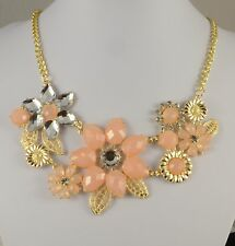 CHUNKY GOLD TONE FACETED PEACH AND CLEAR  CRYSTAL  FLOWER STATEMENT NECKLACE