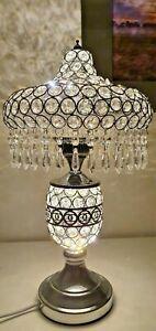 NEW MODERN CRYSTAL JEWEL GEM DIAMANTE SILVER DESK TABLE LAMP LIGHT ROUND SHADE