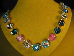 MARIANA NECKLACE SWAROVSKI CRYSTALS YELLOW GOLD PL MOSAIC BLUE PINK GREEN Flower
