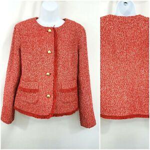 Talbots Women's Blazer Jacket Size 8 Red Gold Button Up Office Tweed Fringe EUC
