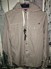Nwt $219 Marc Boehler Kaki Wear Check 100% Cotton Button Down Hoodie Small 😍