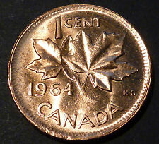 ERROR - BU Canada 1964 1-cent grease-plugged die, with collar failure