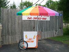 New Vendor Ice Cream Push Cart w/Umbrella & Graphics Good Humor or Novelty Bars