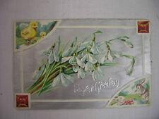 VINTAGE EMBOSSED EASTER POSTCARD BUNNIES CHICKS FLOWERS 1912