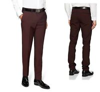 New Look Mens Slim Fit Suit Trousers Non-Iron Tailored Burgundy Pants 30W 29L