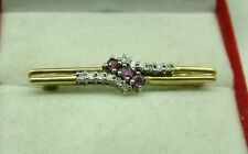 Beautiful 9ct Gold Ruby And Diamond Bar Brooch
