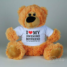 Funny Teddy bear I LOVE MY AWESOME BOYFRIEND Valentine's day gift for girlfriend
