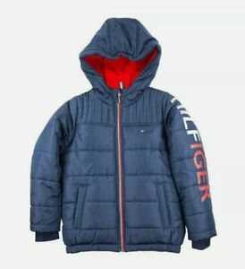 NWT Tommy Hilfiger Youth Boys Navy Fleece Lined Jacket with Hood Size. Large