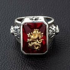Red Stone Rasta Lion 925 Sterling Silver Mens Ring 24.20CT Emerald Cut Ruby