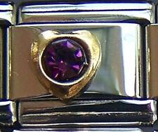 Italian Charm 9mm February Gold Heart Birthstone CZ New