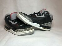 NIKE AIR JORDAN III 3 RETRO OG BG BLACK FIRE RED CEMENT GREY WHITE 854261-001 7Y