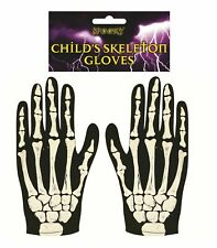 Child's SKELETON HALLOWEEN GLOVES Black Bone Print KIDS Scary Fancy Dress Lot