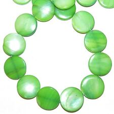"""MPX1958L 10-Strands Green Mother of Pearl 20mm Flat Round Shell Beads 16"""""""