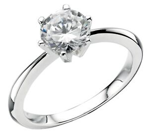 Elements 925 Polished Sterling Silver 6 Point Brilliant Cut CZ Solitaire Ring