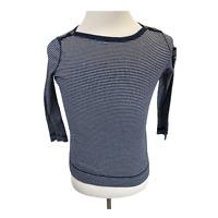 Lauren Jeans Co. knit shirt Size Small Womens Blue & White Blouse Top L/S Ralph