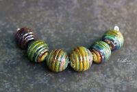 Raku Ribbed -  Handmade Glass Lampwork Round Beads MTO - Choose etched or glossy