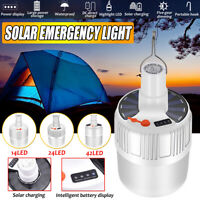 14/24/42 LED Rechargeable Work Light Solar Emergency Bulb USB Camping Fishing